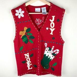 Vintage Tacky Christmas Sweater Vest Stockings Sma